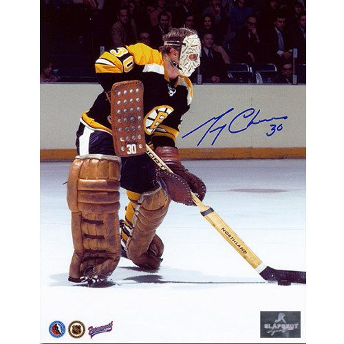 Gerry Cheevers Signed Photo-Boston Bruins Playing the Puck 8x10