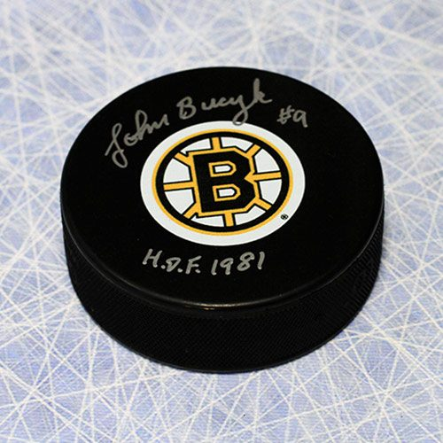 Johnny Bucyk Signed Puck-Boston Bruins Hockey with HOF Note
