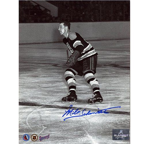 Milt Schmidt Boston Bruins Autographed Black & White Action Photo 8x10