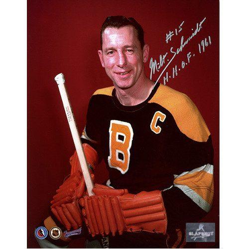 Milt Schmidt Photos-Autographed Boston Bruins Color Pose 8x10