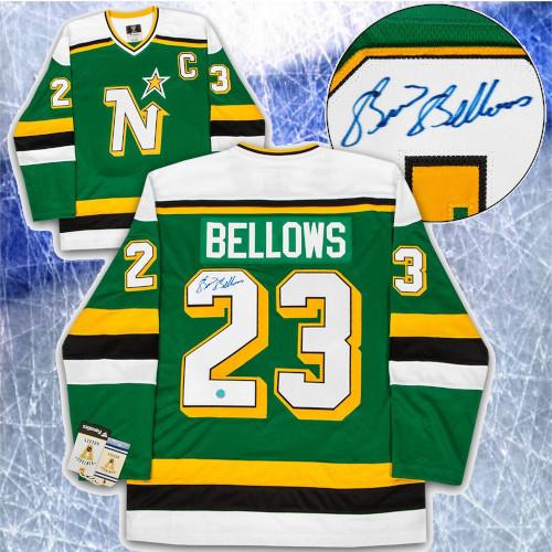 Brian Bellows Minnesota North Stars Signed Fanatics Vintage Hockey Jersey