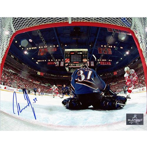 Olaf Kolzig Autographed Photo-Washington Capitals Cup Finals Net-Cam 8x10 Photo