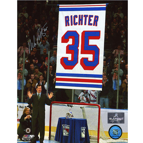Mike Richter Retirement Banner Signed Photo-New York Rangers 8x10
