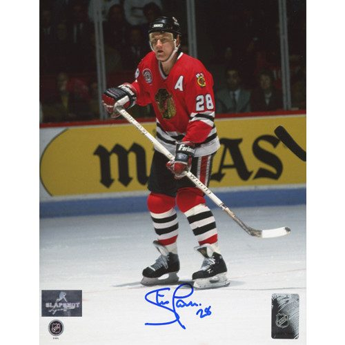 Steve Larmer Autographed Game Action 8x10 Photo-Chicago Blackhawks