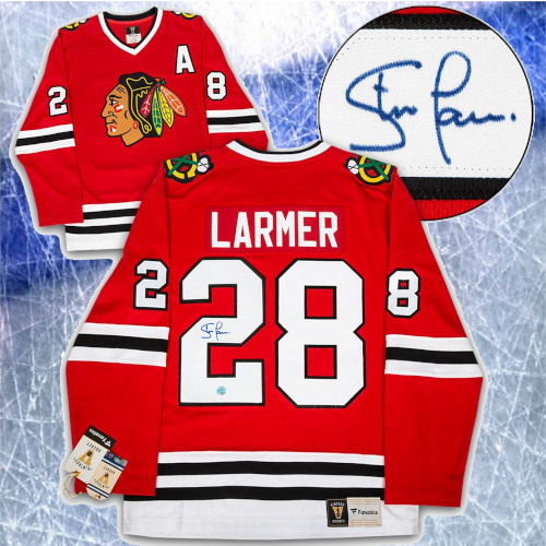 Steve Larmer Chicago Blackhawks Signed Fanatics Vintage Hockey Jersey