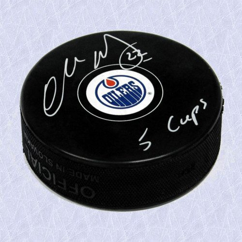 Charlie Huddy Oilers Autographed Official Model Hockey Puck w/ 5 Cups Note
