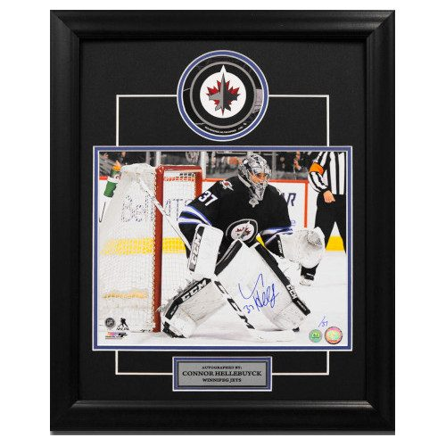 Connor Hellebuyck Autographed Winnipeg Jets Goalie 23x19 Decal Frame