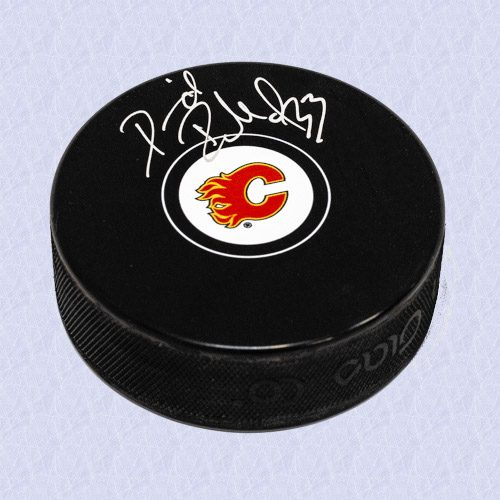 David Rittich Calgary Flames Signed Autograph Model Hockey Puck
