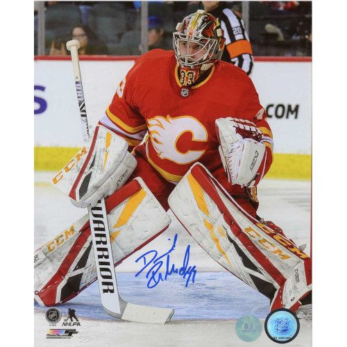 David Rittich Calgary Flames Autographed Vintage Flames Logo 8x10 Photo