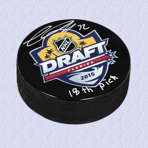 Thomas Chabot 2015 NHL Draft Day Autographed Hockey Puck with 18th Pick