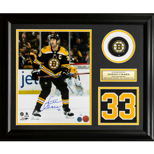 Zdeno Chara Boston Bruins Autographed Action Jersey Number 23x19 Frame #/33