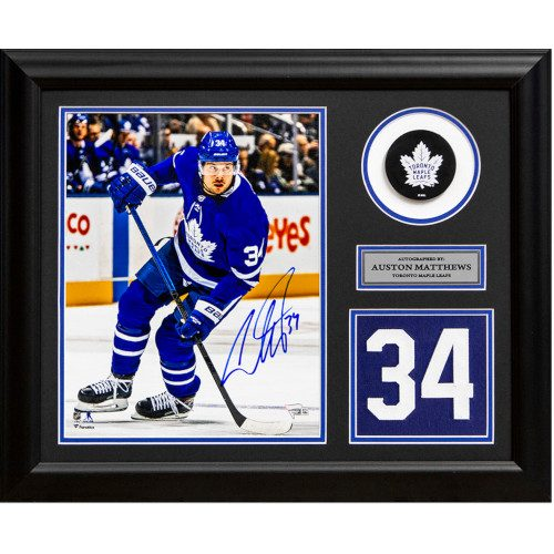 Auston Matthews Toronto Maple Leafs Signed Franchise Jersey Number 23x19 Frame