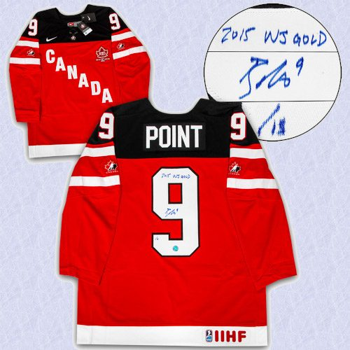 Brayden Point Team Canada Signed with Note 2015 WJ Gold Nike Hockey Jersey #/15