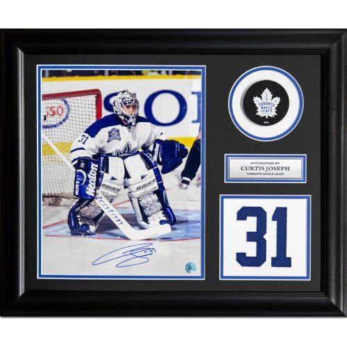 Curtis Joseph Toronto Maple Leafs Signed Franchise Jersey Number 23x19 Frame
