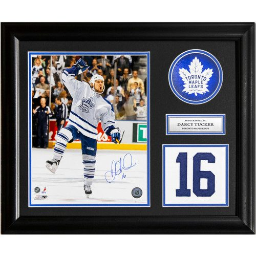 Darcy Tucker Toronto Maple Leafs Signed Franchise Jersey Number 23x19 Frame