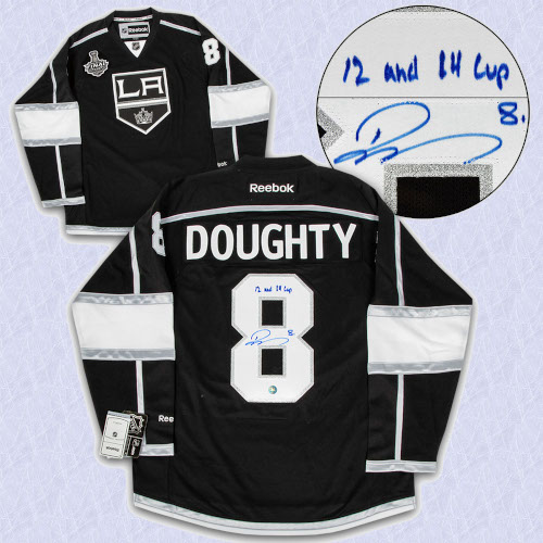 Drew Doughty Los Angeles Kings Signed Stanley Cup Reebok Premier Jersey with 12 and 14 Cup Note