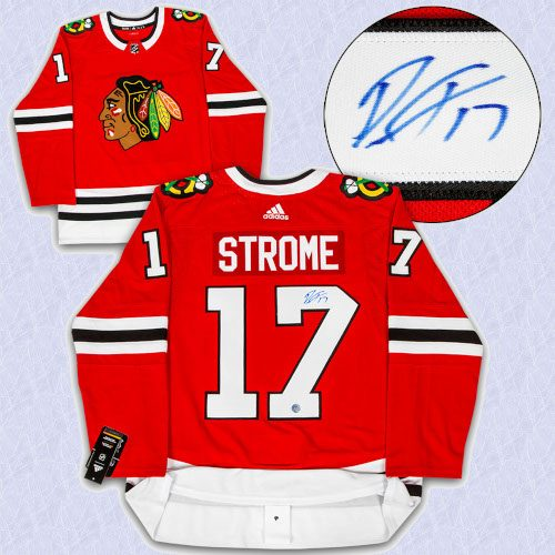 Dylan Strome Chicago Blackhawks Autographed Adidas Authentic Hockey Jersey