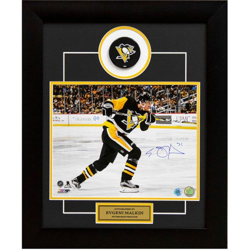 Evgeni Malkin Pittsburgh Penguins Autographed Slap Shot 24x20 Puck Frame