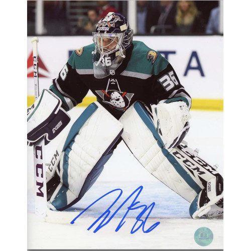 John Gibson Anaheim Ducks Autographed Mighty Ducks Retro Jersey 8x10 Photo