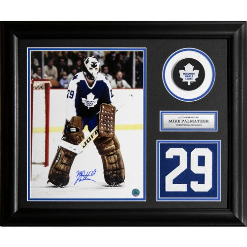 Mike Palmateer Toronto Maple Leafs Signed Franchise Jersey Number 23x19 Frame