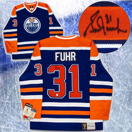 Grant Fuhr Edmonton Oilers Signed Fanatics Vintage Hockey Jersey