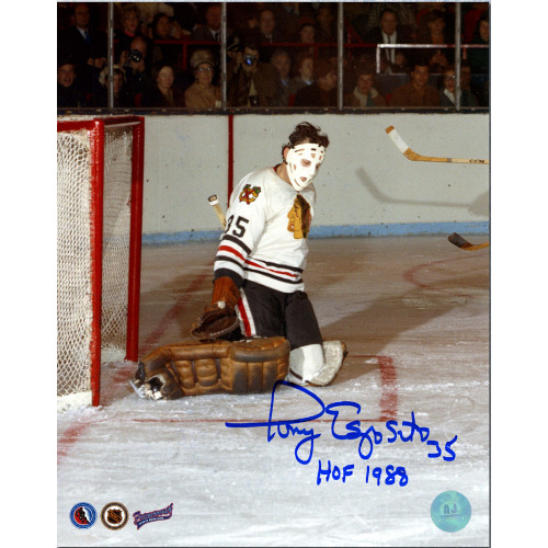 Tony Esposito Chicago Blackhawks Signed 8x10 Butterfly Save Photo