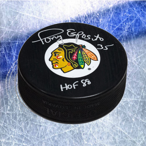 Tony Esposito Chicago Blackhawks Signed Hockey Puck with HOF Inscription