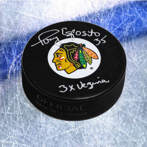 Tony Esposito Chicago Blackhawks Signed Hockey Puck with Vezina Inscription