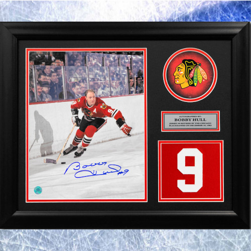 Bobby Hull Framed Chicago Blackhawks Signed Retired Jersey Number 20x24