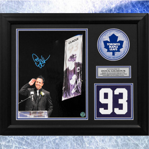 Doug Gilmour Framed Toronto Maple Leafs Autographed Retired Jersey Number 20x24