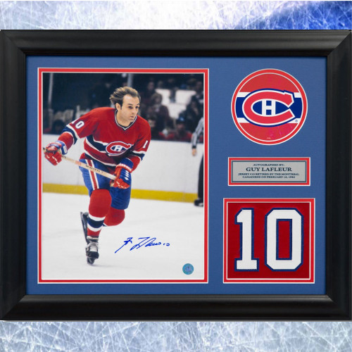 Guy Lafleur Framed Montreal Canadiens Autographed Retired Jersey Number 20x24
