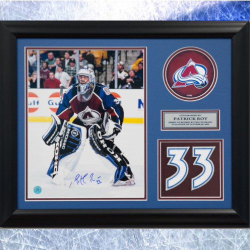 Patrick Roy Framed Colorado Avalanche Autographed Retired Jersey Number 20x24