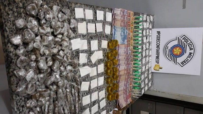 Drogas apreendidas pela PM/SP na Vila Nova União, em Mogi das Cruzes