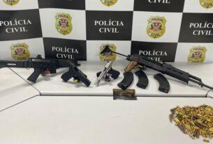 Armas apreendidas pela Polícia Civil em Mogi das Cruzes