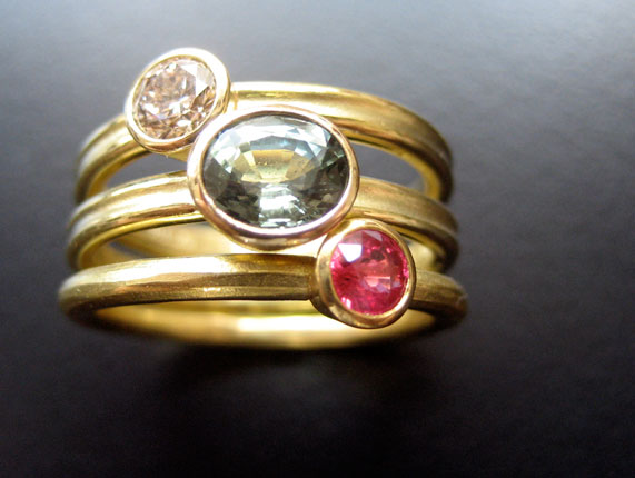 Textured Band Stacking Rings