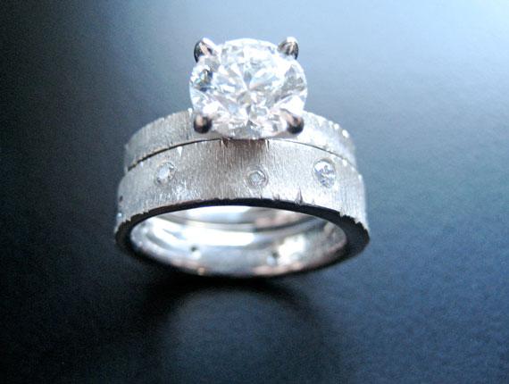 Palladium Crinkle Ring Set
