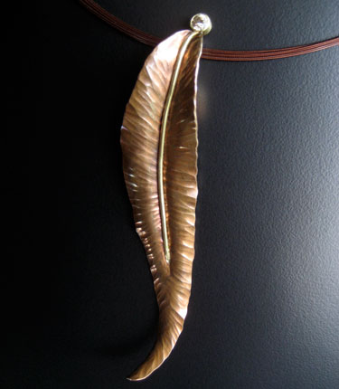 Copper Feather Pendant