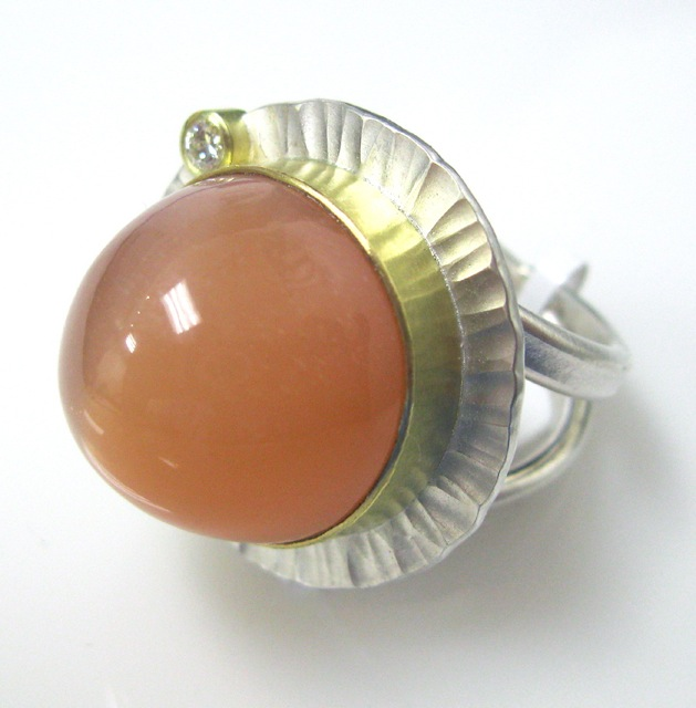 Alexandra Hart Peach Moonstone ring