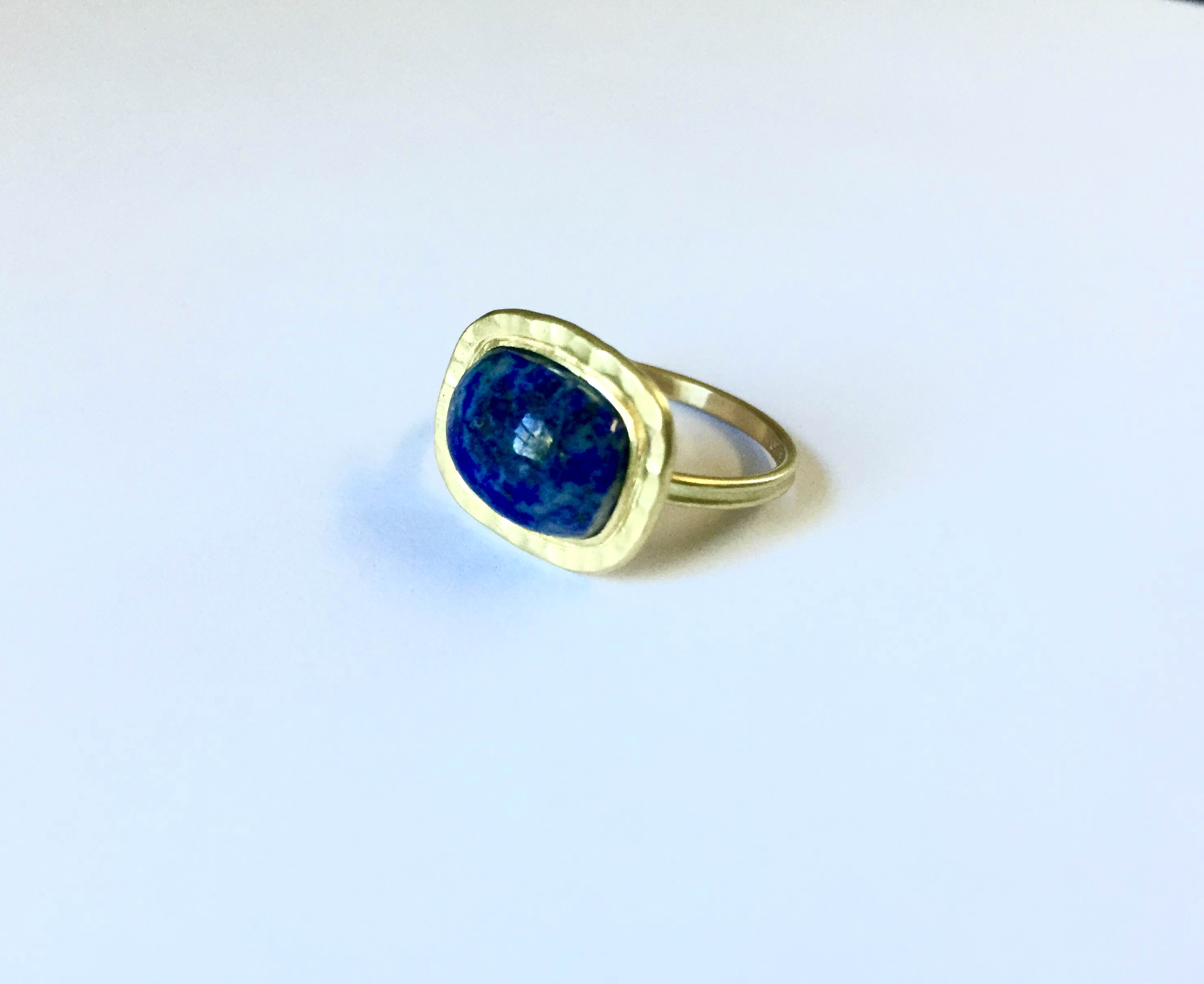 Ancient-Style Gold Ring with Re-cut Lapis