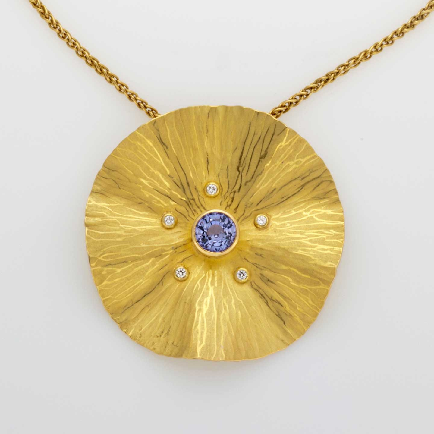 Sapphire Gold Radiant Necklace