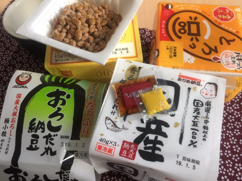How to enjoy Natto? In the picture is four different packets of Japanese Natto