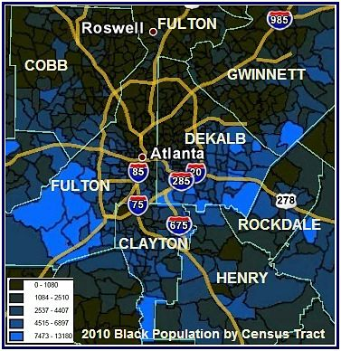 African American population distribution map of Atlanta by census tract