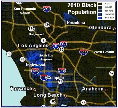 2010 Los Angeles Black Population Distribution map