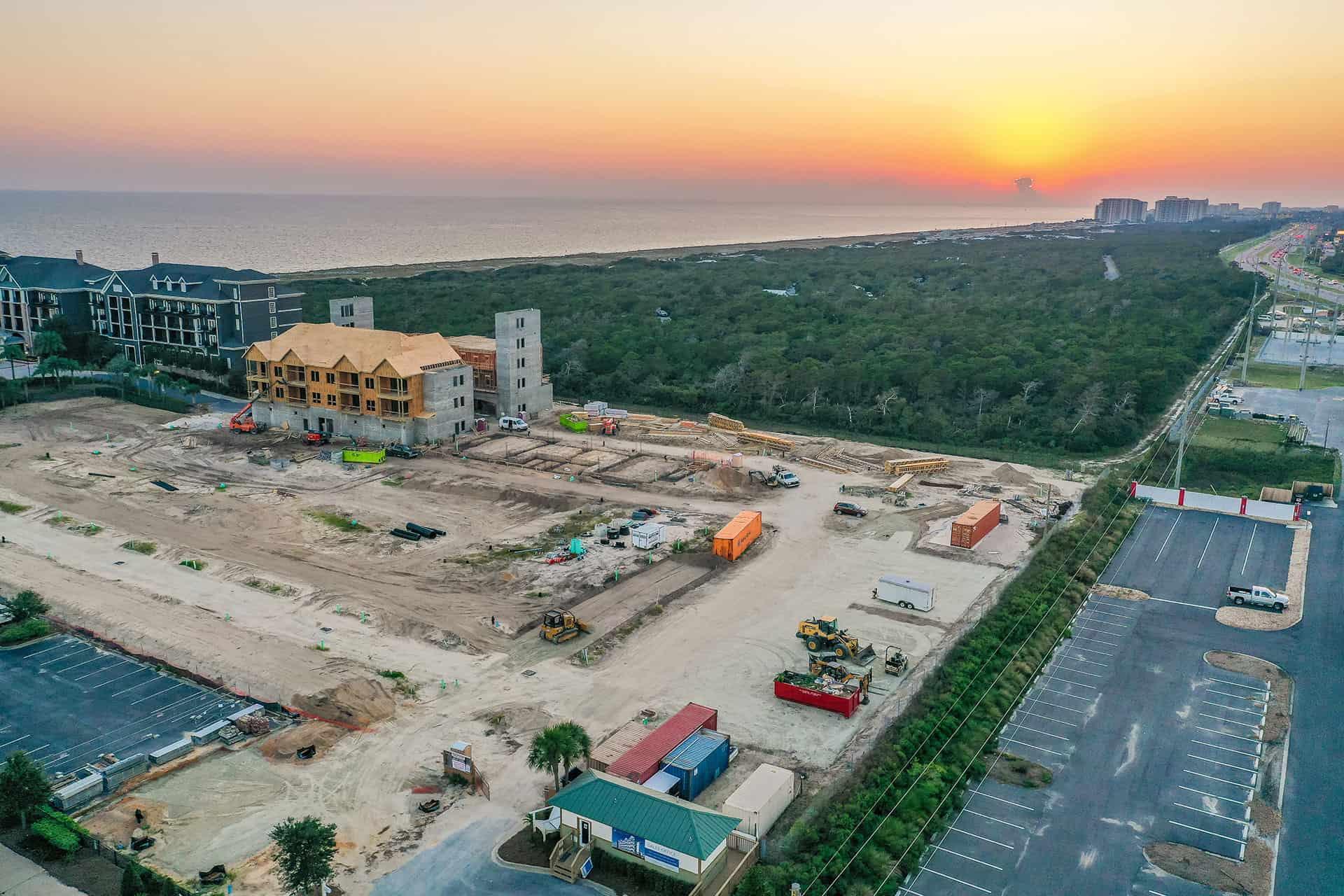 Parkside construction progress photo at dusk