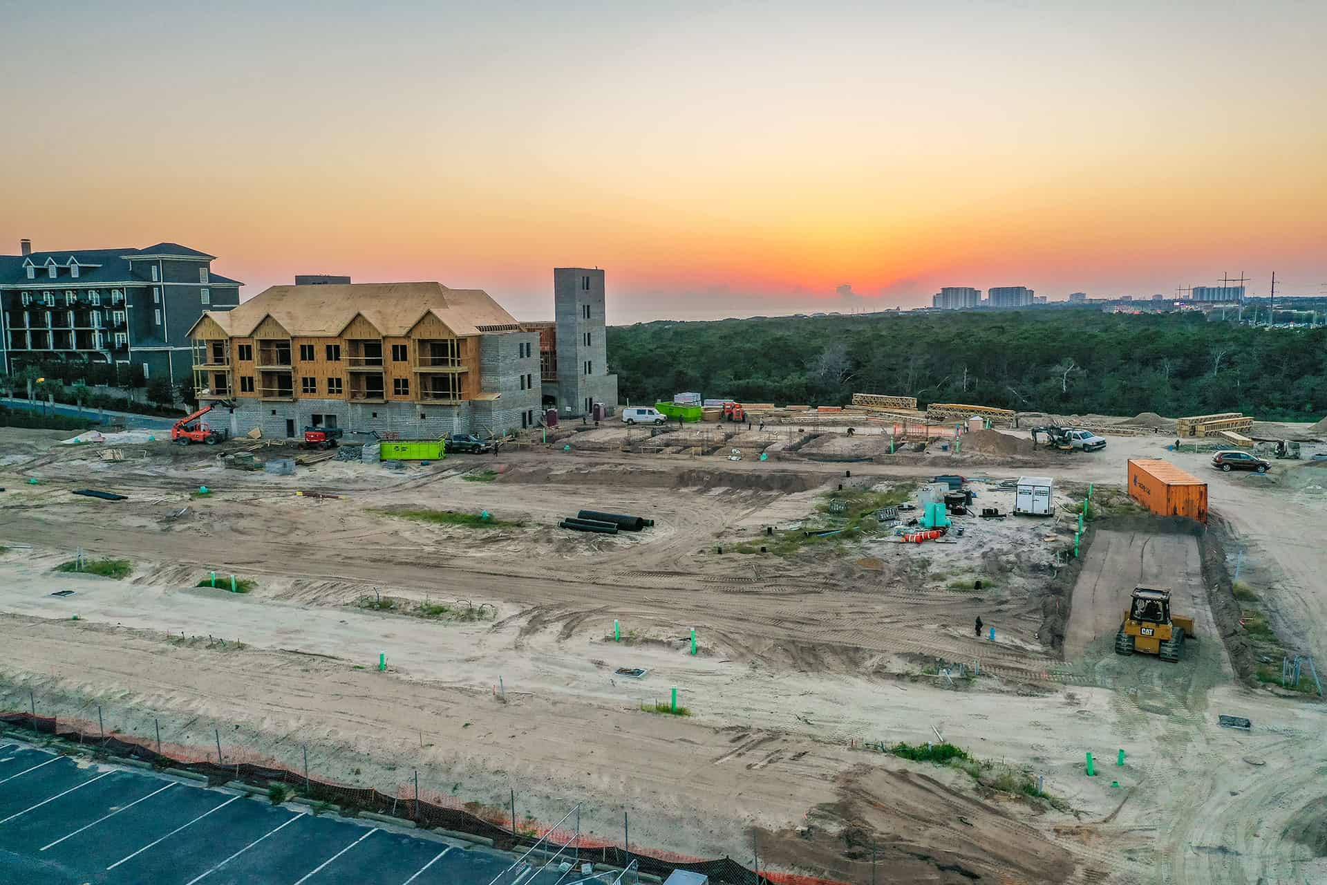 Parkside construction progress photo at dusk