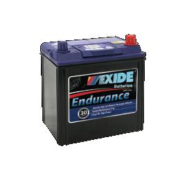 Black case, blue top, 40CMF Exide Endurance passenger car battery