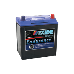 Black case, blue top, 40CPMF Exide Endurance passenger car battery