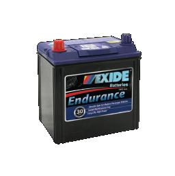 Black case, blue top, 40DMF Exide Endurance passenger vehicle battery