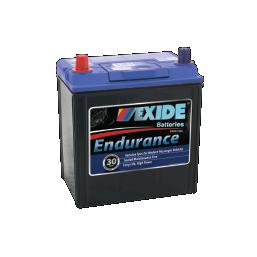Black case, blue top, 40DPMF Exide Endurance passenger vehicle battery