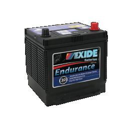 Black 50D20LMF Exide passenger car battery with blue labels